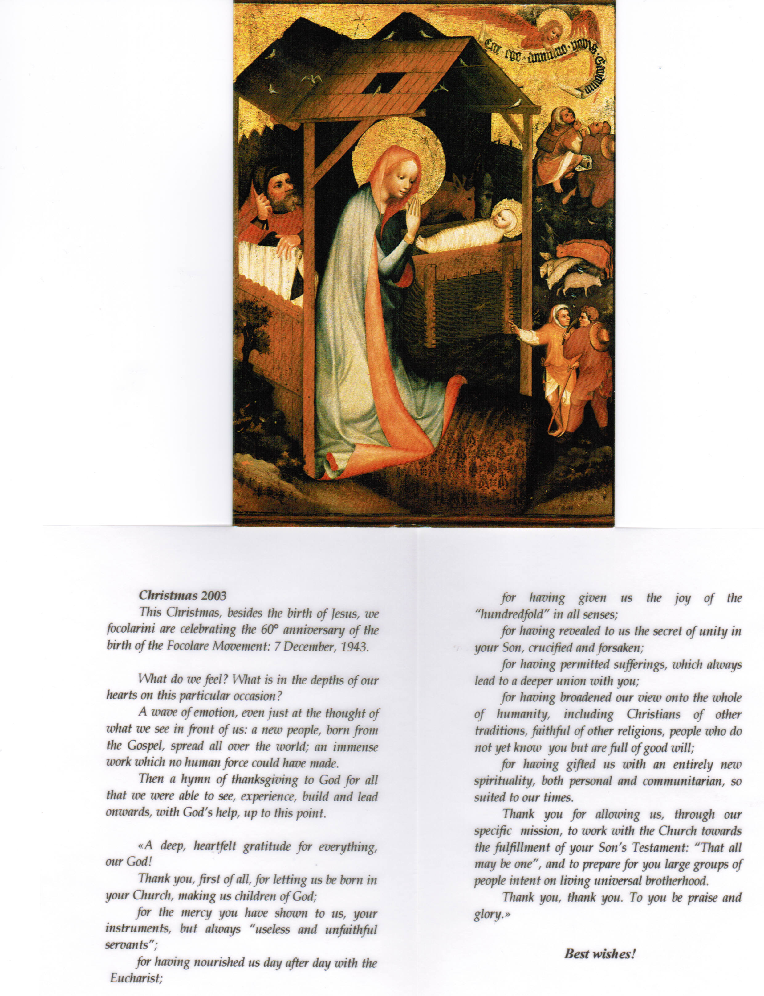 Translation of the Christmas Letter of Chiara Lubich