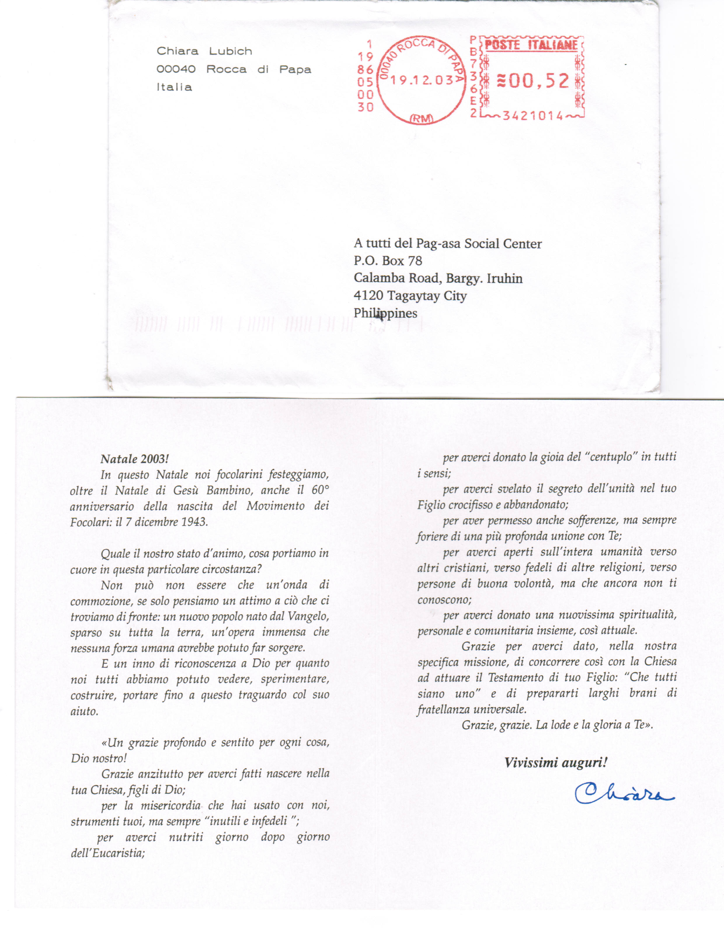 Christmas letter to Pag-asa from Chiara Lubich (2003)