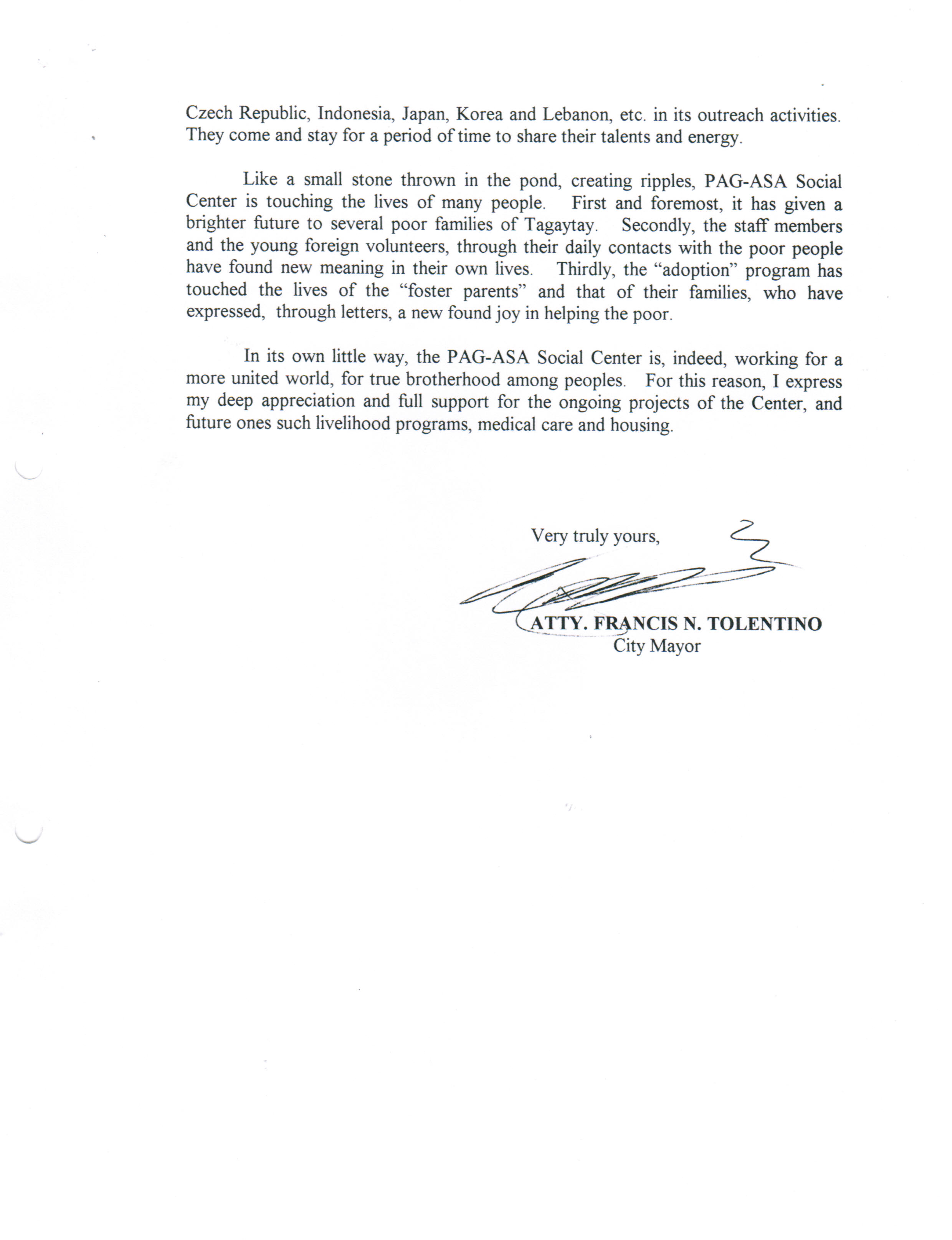 Letter Mayor Francis Tolentino to Pagasa 2