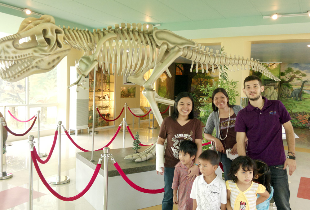 Children and their teachers enjoy their visit to the city's Dinosaur museum
