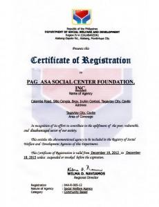 DSWD Certificate of Registration Dec. 19, 2012