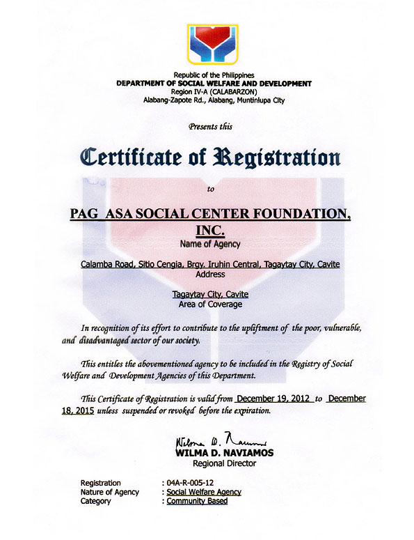 DSWD Certificate of Registration Dec. 19, 2012