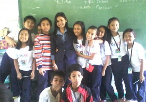 Teacher Judy with students
