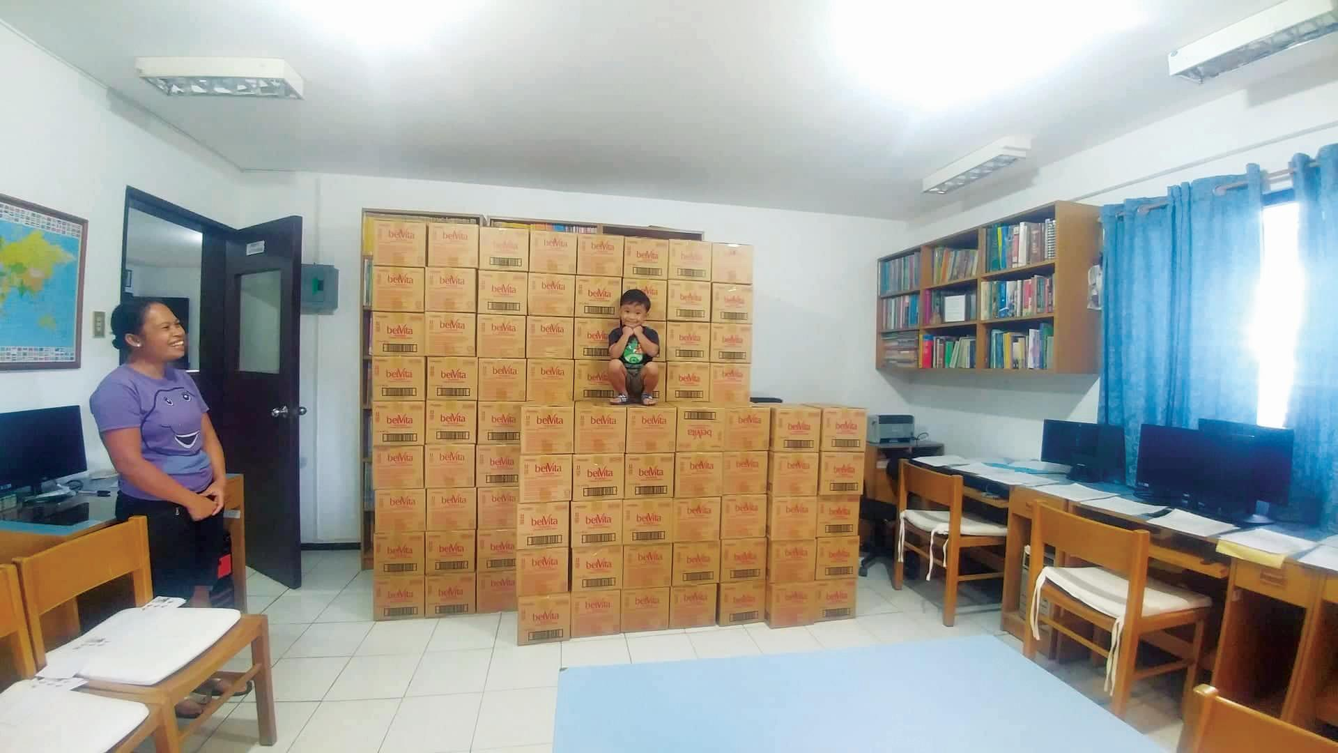 Boxes of biscuits donation